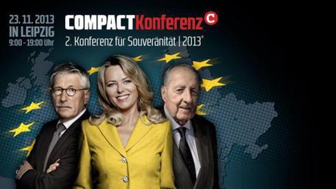 Umstrittener Kongress in Leipzig - mit dabei: Thilo Sarrazin, Eva Herman, Peter Scholl-Latour (v. l.)
